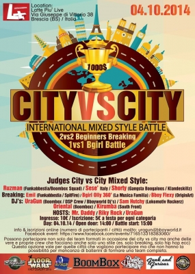 City vs City: Mixed Style & 2 vs 2 Beginners & 1vs1 Bgirls Open